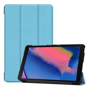 Custer textuur horizontale Flip lederen case voor Galaxy tab A 8 0 (2019) P205/P200  met drie-vouwen houder (baby blauw)