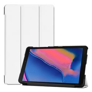 Custer textuur horizontale Flip lederen case voor Galaxy tab A 8 0 (2019) P205/P200  met drie-opvouwbare houder (wit)