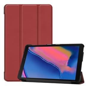 Custer textuur horizontale Flip lederen case voor Galaxy tab A 8 0 (2019) P205/P200  met drie-vouwen houder (wijn rood)