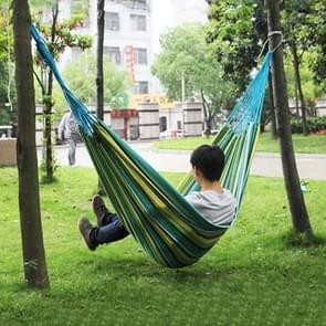 Blauwe en groene streep buiten Canvas hangmat Portable strand schommel Bed  grootte: 200 * 150cm