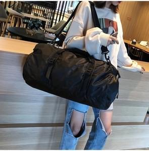 Opvouwbare Nylon schouder Travel Bag recreatieve Sport handtas (zwart)