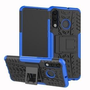 Band textuur TPU + PC schokbestendig telefoon geval voor Huawei P30 Lite/Nova 4e  met houder (blauw)