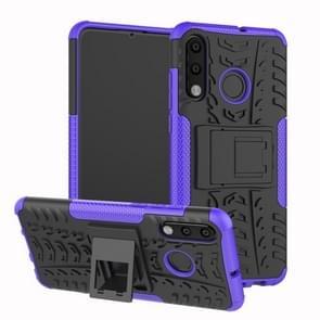 Band textuur TPU + PC schokbestendig telefoon geval voor Huawei P30 Lite/Nova 4e  met houder (paars)