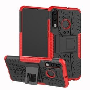 Band textuur TPU + PC schokbestendig telefoon geval voor Huawei P30 Lite/Nova 4e  met houder (rood)