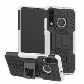 Band textuur TPU + PC schokbestendig telefoon geval voor Huawei P30 Lite/Nova 4e  met houder (wit)