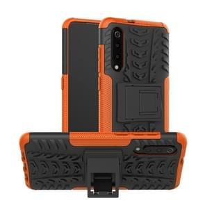 Band textuur TPU + PC schokbestendig telefoon geval voor Xiaomi mi 9  met houder (Orange)