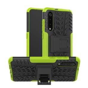 Band textuur TPU + PC schokbestendig telefoon geval voor Xiaomi mi 9  met houder (groen)