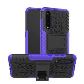 Band textuur TPU + PC schokbestendig telefoon geval voor Xiaomi mi 9  met houder (paars)