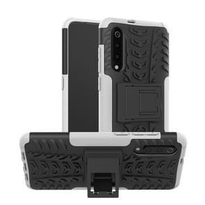 Band textuur TPU + PC schokbestendig telefoon geval voor Xiaomi mi 9  met houder (wit)