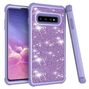 Glitter contrast kleur silicone + PC schokbestendig geval voor Galaxy S10 PLUS (paars)