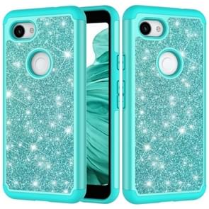 Glitter poeder contrast huid schokbestendig silicone + PC beschermende case voor Google pixel 3A (groen)