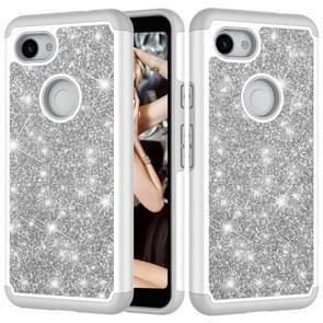 Glitter poeder contrast huid schokbestendig silicone + PC beschermende case voor Google pixel 3A XL (grijs)