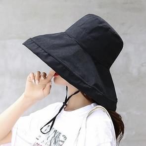 Casual zonneklep visser hoed (zwart)