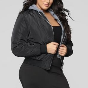 Groot formaat vrouwen two-tone hooded jas (kleur: zwarte maat: XXXL)