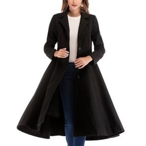 Wollen jas single-breasted lange wollen jas met lange mouwen (kleur: zwarte maat: l)