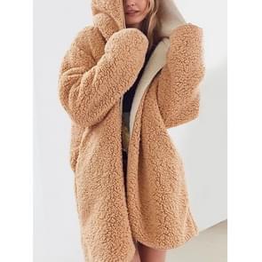 Double-Faced Pluche Tweedelige Long Hooded Jacket (Kleur: Khaki Grootte: L)