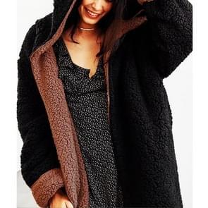Double-Faced Pluche Tweedelige long hooded jas (kleur: zwart formaat: S)