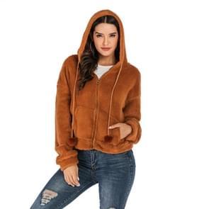Casual fleece jas effen kleur losse Hooded wollen jas (kleur: Camel grootte: XL)