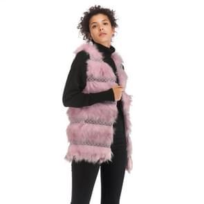 Wollen Vest warme en losse lange vacht (kleur: roze grootte:XL)