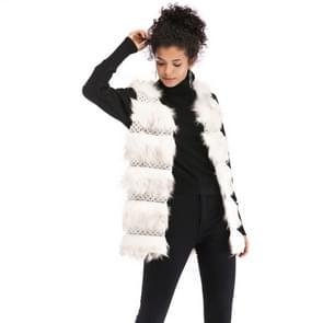 Wollen Vest warme en losse lange vacht (kleur:witte grootte: L)