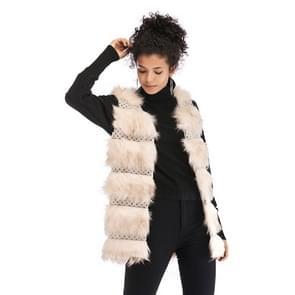 Wollen Vest warme en losse lange vacht (kleur:Abrikozenmaat:L)