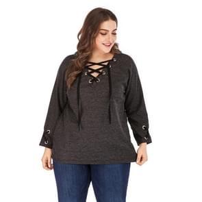 Plus Size vrouwen Effen kleur V-hals lange mouw top (kleur: grijs formaat: XXXXL)