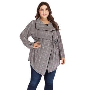 Plus size dames bedrukte V-hals lange mouw mid-length jas (kleur:grijs formaat: XXXXL)