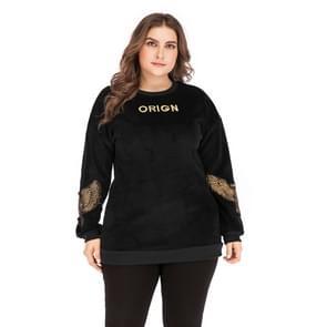 Plus Size vrouwen geborduurd ronde hals lange mouw pullover (kleur: zwart formaat: XXXL)