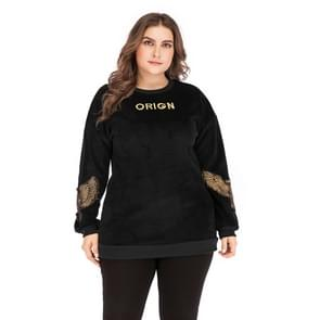 Plus Size Vrouwen geborduurd ronde hals lange mouw pullover (kleur: zwart formaat: XXXXL)