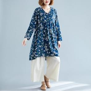 Retro Print Plus Maat Katoen en Linnen jurk losse V-hals Rok (Kleur: Blauwe maat: L)