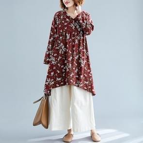 Retro Print Plus Maat Katoen en Linnen jurk losse V-hals rok (kleur: wijn rood formaat: L)