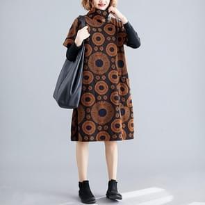 Groot formaat vet zus los en dunne mid-length print hoge hals jurk (kleur: koffie grootte: vrije grootte)