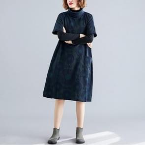 Grote grootte vet zus los en dunne mid-length print hoge hals jurk (kleur: Marine Blauwe maat: Vrije maat)