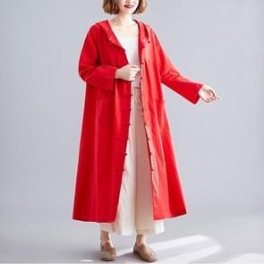 Katoen en linnen jas los mid-length Retro Literaire Buckle Cloak Grootte: Gratis maat