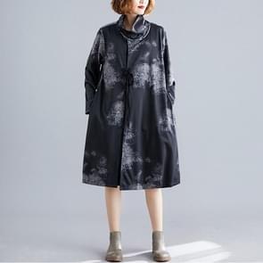 Temperament losse grote grootte buik jurk (kleur: zwart formaat: XL)
