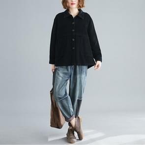 Literatuur en kunst Retro Corduroy Jas Vrouwen Loose Corduroy Korte Vest Lange Mouwen (Kleur: Zwart Formaat: XL)