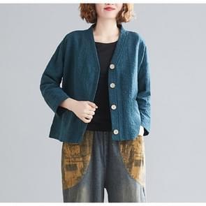 Katoen en linnen korte vest jas (kleur: groene maat: gratis maat)