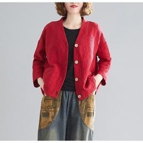 Katoen en linnen korte vest jas (kleur: rood formaat: gratis maat)