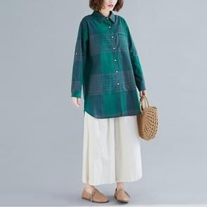 Retro Literaire Plaid Shirt Vrouwen mid-length Jacket Shirt (Kleur: Green Size:XXL)