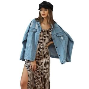 Casual Ripped Long-sleeved Denim Jacket (Kleur: Blue Size:XS)