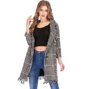 Vrouwen lapel kwast met lange mouwen plaid wollen overjas jas (kleur: als show grootte: S)