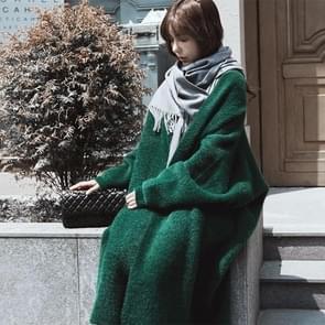 Losse vleermuis plus grootte verdikt nightgown vrouwen gebreide vest trui jas (kleur: wit formaat: gratis maat)