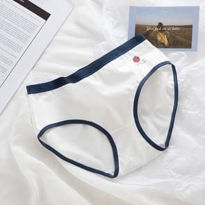 6 PCS Mid-waist Groot-size Hip-wrapped Cotton Crotch Girl Student Briefs (Kleur: Witte Achtergrond Side Aardbeien Grootte:XL)
