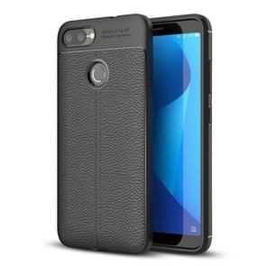 Voor Asus Zenfone Max Plus (M1) Litchi textuur dekken zachte TPU beschermende back cover(Black)