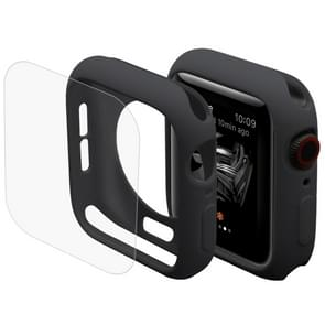 ENKAY Hat-Prins 2 in 1 TPU semi-geklede beschermende Shell + 3D volledig scherm PET gebogen warmte buigen HD Screen Protector voor Apple Watch serie 4 40mm(Black)