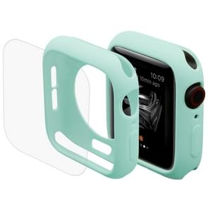 ENKAY Hat-Prins 2 in 1 TPU semi-geklede beschermende Shell + 3D volledig scherm PET gebogen warmte buigen HD Screen Protector voor Apple Watch serie 4 40mm(Green)