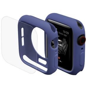 ENKAY Hat-Prins 2 in 1 TPU semi-geklede beschermende Shell + 3D volledig scherm PET gebogen warmte buigen HD Screen Protector voor Apple Watch serie 4 40mm(Blue)