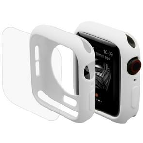 ENKAY Hat-Prins 2 in 1 TPU semi-geklede beschermende Shell + 3D volledig scherm PET gebogen warmte buigen HD Screen Protector voor Apple Watch serie 4 40mm(White)