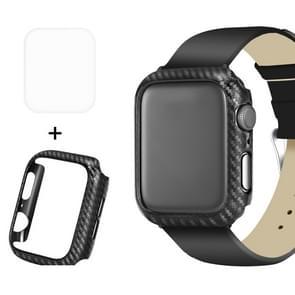 ENKAY Hat-Prins 2 in 1 Carbon Fiber Texture TPU semi-geklede beschermende Shell + 3D volledig scherm PET gebogen warmte buigen HD Screen Protector voor Apple Watch serie 4 40 mm