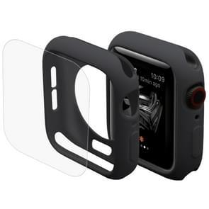 ENKAY Hat-Prins 2 in 1 TPU semi-geklede beschermende Shell + 3D volledig scherm PET gebogen warmte buigen HD Screen Protector voor Apple Watch serie 4 44mm(Black)